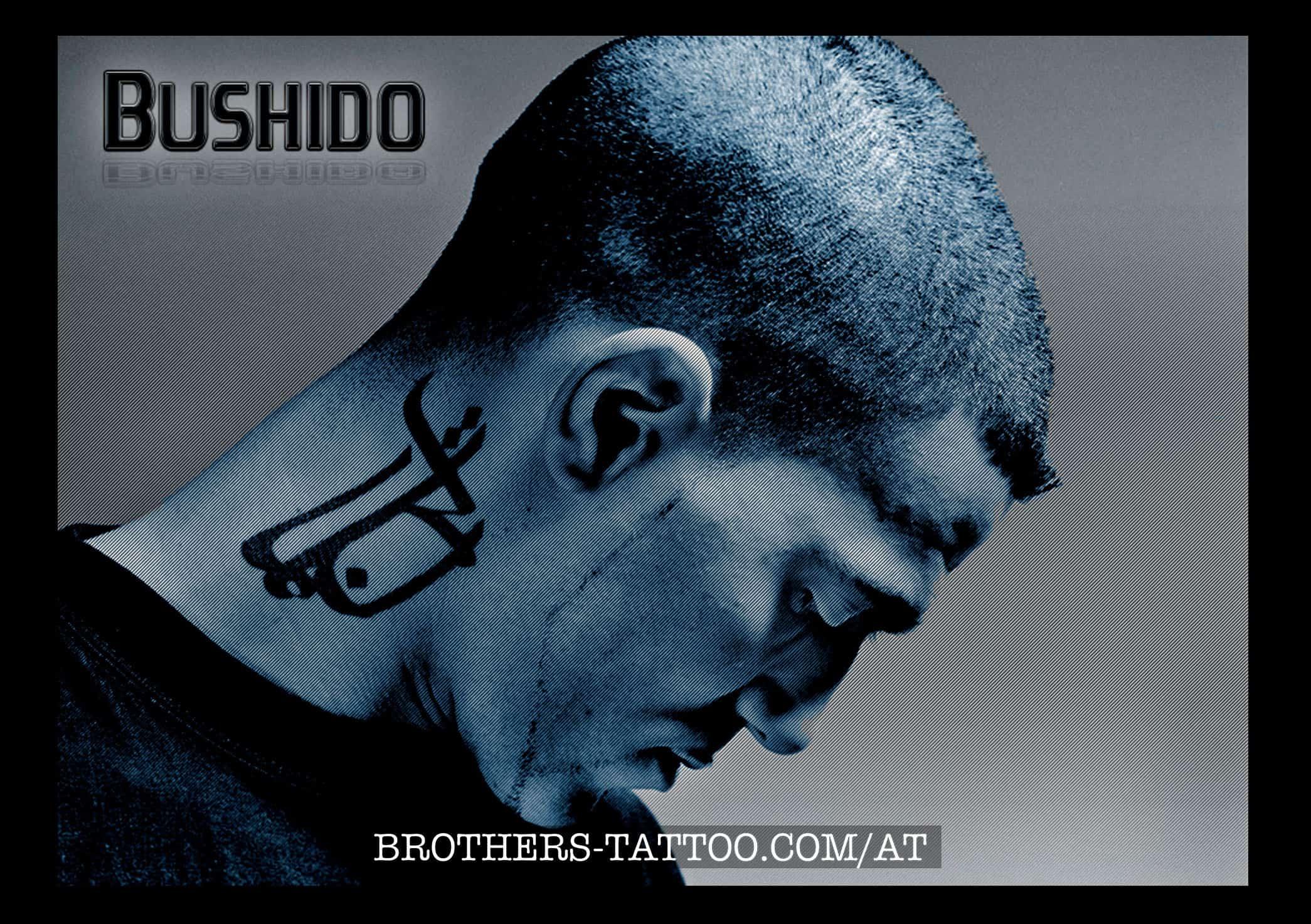 Bushidos Tattoo am Hals (Schriftzeichen Arabisch)
