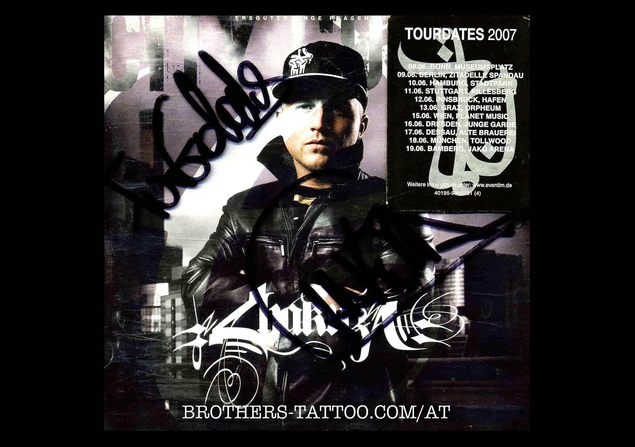 Chakuza & DJ Stickle Autogramm auf seinem CD-Cover für Norbert vom tattoostuido