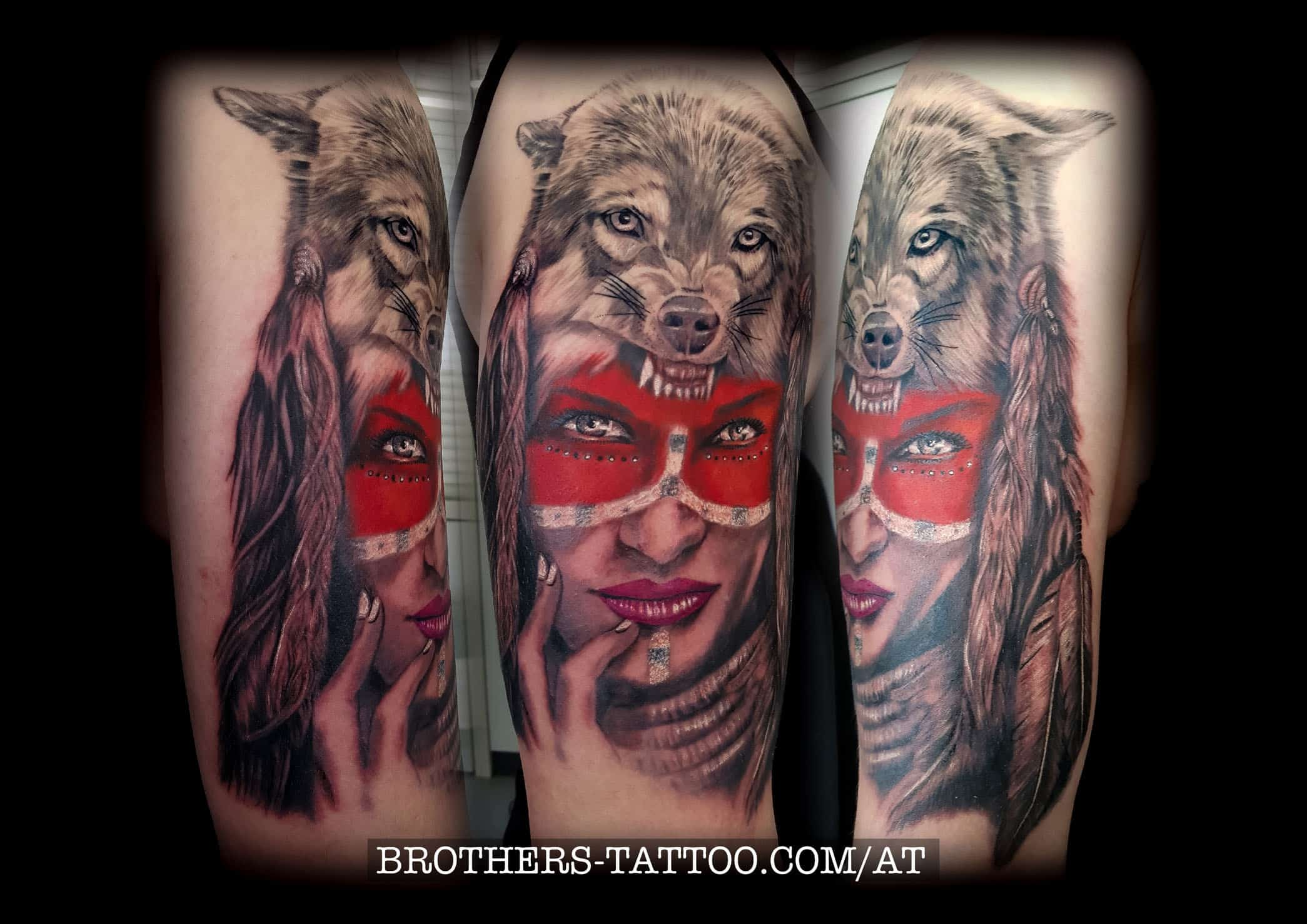 Wolf + Frau Tattoo in Rottönen tätowiert